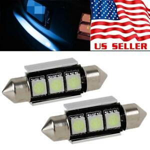 2x Ice Blue Led 36mm 6418 Festoon Error Free License Plate Light Bulb For Bmw