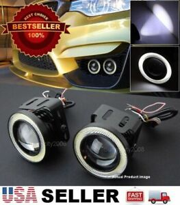 Pair 3 White Drl Cob Led Halo Ring Driving Projector Fog Light For Toyota Scion