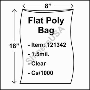 1000 1 5 mil 8x18 Clear Poly Bag Open Top Lay Flat Packaging 121342