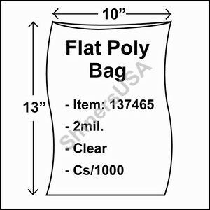 1000 2 mil 10x13 Clear Poly Bag Open Top Lay Flat Packaging 137465
