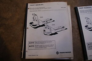 Bt Prime Mover Rmx Hmx Electric Pallet Jack Truck Parts Manual Catalog Book 1994