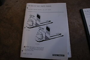Bt Prime Mover Pe 60c Ht Pallet Jack Truck Electric Parts Manual Catalog Book