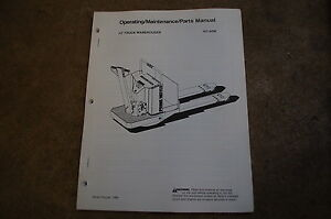Bt Prime Mover Ht Pallet Truck Owner Operator Operation Maintenance Parts Manual