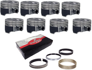 Gm Chevy Sbc 350 5 7l Coated Skirts Flat Top Pistons With Rings Set Of 8