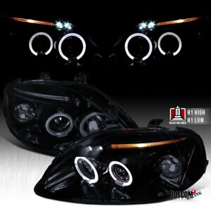 For 1999 2000 Honda Civic Ek Led Halo Projector Headlights Black Smoke Lamps