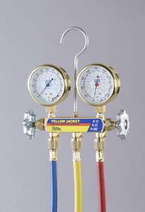 Yellow Jacket 41233 Deluxe Manifold W class 1 Brass Gauges 36