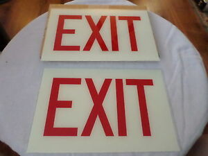 2 Real Glass Exit Replacement Signs 13 1 2 By 8 7 8