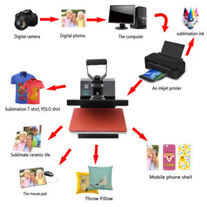 Heat Press T shirt Heat Transfer Sublimation Machine 15 X 15 Black Clamshel