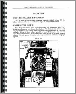 Allis Chalmers U Tractor Operators Manual
