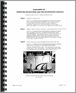 Allis Chalmers Hd21p Crawler Operators Manual sn 12904 16000