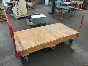 Wooden Shop Cart Tilt Platform Cart 3 X 6 6 wheels Hardwood Platform
