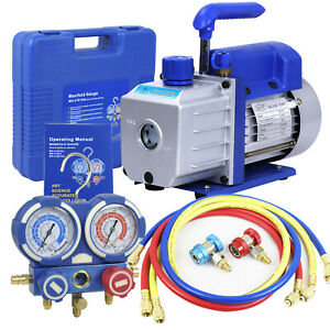 Combo 4 Cfm 1 3hp Air Vacuum Pump Hvac R134a Kit Ac A c Manifold Gauge Set