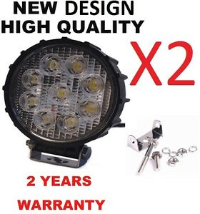 2x 27w Spot Led Work Light Offroad Fog Driving Drl Suv Atv Truck 4wd Round