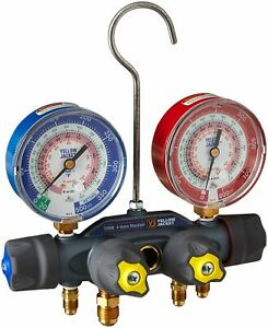 Yellow Jacket 49963 Titan Manifold Only f Red blue Gauges Psi R 22 404a 410a