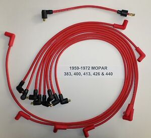 Mopar 383 400 413 426 440 Big Block 1959 1972 Red Spark Plug Wires Points Usa