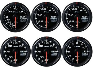 Defi White Racer 60mm 6 Gauges Set boost oil fuel Press oil water Temp egt