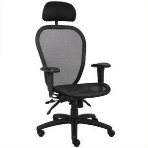 Boss Office Multi Function Mesh Office Chair With Headrest In Black