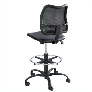 Safco Vue Extended height Vinyl Drafting Chair In Black