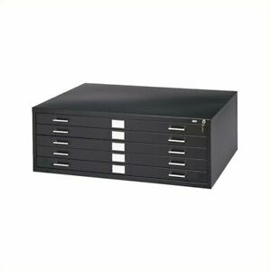 Safco 5 Drawer Metal Flat Files Cabinet For 24 X 36 Documents In Black