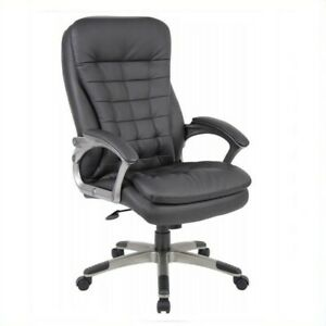 Boss Office Products Executive High Back Pillow Top Office Chair In Black