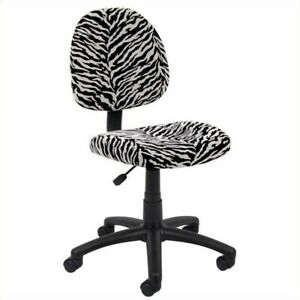 Boss Office Products Zebra Print Microfiber Deluxe Posture Office Chair