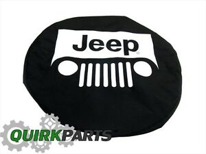 Jeep Wrangler Liberty Black With White Logo Spare Tire Cover Genuine New Mopar