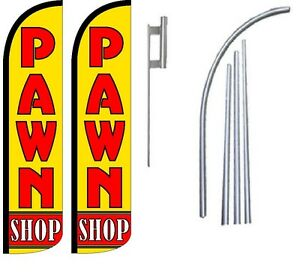 Pawn Shop Standard Windless Swooper Flag With 2 Complete Kit