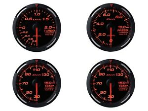Defi Red Racer 52mm 4 Gauges Set boost oil Press oil Temp water Temp