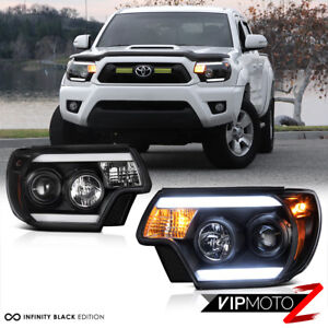 2012 2015 Toyota Tacoma Tribal Black Led Headlight Trd Pro X Runner Pre Runner