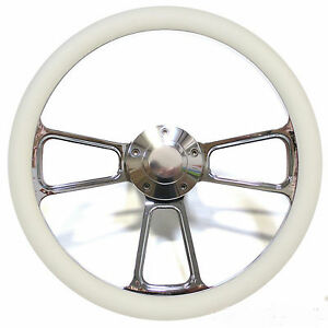 Hot Rod Street Rod Rat Rod Truck Billet Steering Wheel With Cream Vinyl Halfwrap