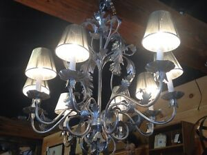 8 Light Metal Silver Painted Chandelier W Floral Leaf Accents Silver Shades