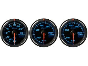 Defi Blue Racer 52mm 3 Gauges Set turbo Boost oil Temperature water Temp