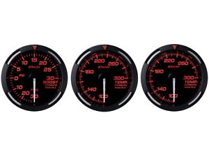 Defi Red Racer 52mm 3 Gauges Set Turbo Boost Oil Temperature Water Temp