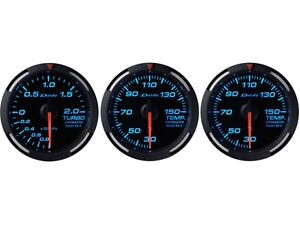 Defi Blue Racer 60mm 3 Gauges Set turbo Boost oil Temperature water Temp
