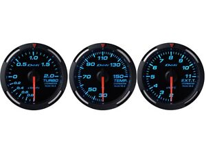 Defi Blue Racer 52mm 3 Gauges Set turbo Boost oil Temperature egt
