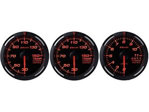 Defi Red Racer 60mm 3 Gauges Set oil Temperature water Temp exhaust Gas Temp