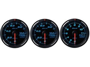 Defi Blue Racer 60mm 3 Gauges Set oil Pressure fuel Pressure exhaust Gas Temp