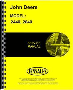 John Deere 2240 2440 2640 Tractor Service Manual jd s tm1142