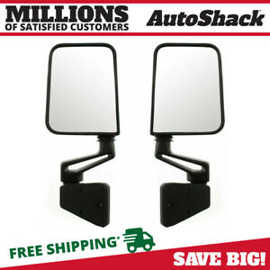 2 Side View Door Mirrors Manual Black Folding Pair Set Fits Jeep Wrangler
