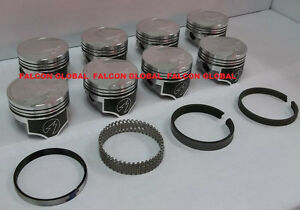 Speed Pro Trw Ford Mercury 351c Forged Coated Flat Top Pistons Race Ring Kit 30