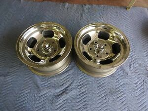 Vintage Pair Polished 15x7 Us Indy Mag Style Mags 5 On 5 1 2 Ford Pickup Ratrod