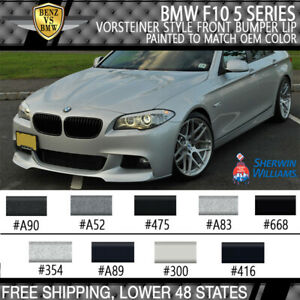 Fits 2011 2016 Bmw F10 5 series V Style Front Bumper Lip Painted To Oem Color
