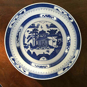 Large Vintage Chinese Export Porcelain Plate Blue White Canton Bright Color