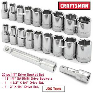 Craftsman Tools 20 Piece 1 4 Sae And Mm Socket Set With 1 4 Extensions