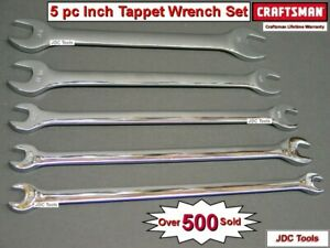 Craftsman 5 Pc Inch Tappet Wrench Set Sae Thin Long Profile Full Polished