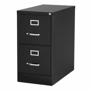 Hirsh 25 In Deep 2 Drawer Vertical Letter File Cabinet In Black