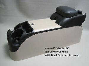 Tan Center Console With Black Upholstered Armrest Crown Victoria P71 Police
