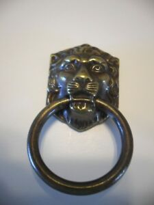 Vtg Nos Lions Head Brass Ring Dresser Drawer Finger Pulls Cabinet Door Handles