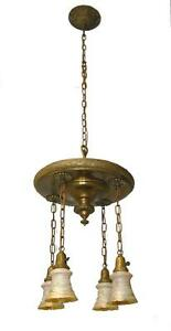 Antique Turn Of The Century Brass Chandelier With Four Quezal Shades