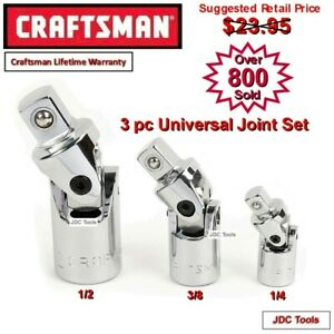 Craftsman 3 Pc Universal Swivel Joint Set 1 4 3 8 1 2 New